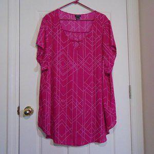 Torrid Pink Geometric Short Sleeve Blouse 5X